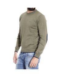 Armani Jeans - Green Sweater Crewneck With Patches Contrast for Men - Lyst