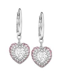 Swarovski | Pink Rhodium-plated Light Rose And Clear Crystal Pave Heart Drop Earrings | Lyst
