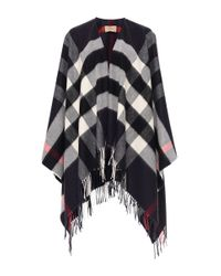 Burberry - Blue Collette Wool Cashmere Cape - Lyst