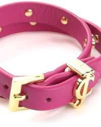 Juicy Couture | Pink Jc Heart Studded Leather Double Wrap Bracelet | Lyst