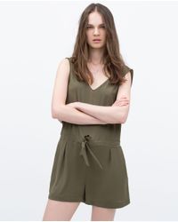 Zara | Natural Short Jumpsuit With Bow At Waist | Lyst