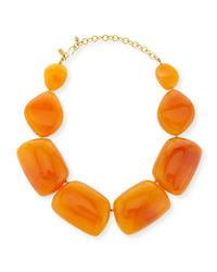 Kenneth Jay Lane | Orange Amber Resin Statement Necklace for Men | Lyst