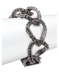 Lanvin | Metallic Crystal, Chain & Leather Wrap Bracelet | Lyst