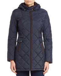 Weatherproof | Blue Quilted Faux Fur-lined Coat | Lyst