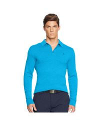 Ralph Lauren - Blue Tailored-fit Stretch-mesh Polo for Men - Lyst