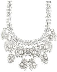 Givenchy - White Silver-tone Faux Pearl And Crystal Collar Necklace - Lyst