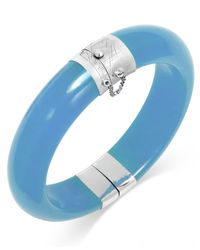 Macy's | Sterling Silver Blue Jade Bangle (10-13-1/2Mm) | Lyst