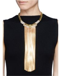 Iosselliani - Metallic Snake Chain Fringe Arrow Pendant Collar Necklace - Lyst