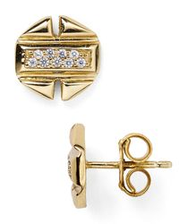 Melinda Maria - Metallic Brooklyn Pavé Stud Earrings - Lyst