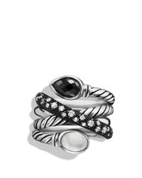 David Yurman - Metallic Grisaille Crossover Ring With Hematine, Moon Quartz, And Diamonds - Lyst