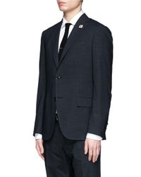 Lardini - Gray Micro Houndstooth Wool Blend Suit for Men - Lyst
