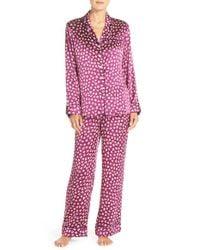 Olivia Von Halle Purple 'lila Hope' Print Silk Pajamas