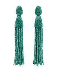 Oscar de la Renta - Green Jade Classic Long Tassel Earrings - Lyst