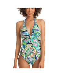 Trina Turk | Blue Nomad Paisley Plunge One Piece | Lyst