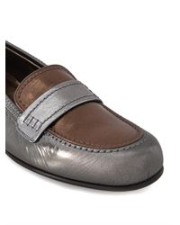 Lanvin - Metallic Tri-Colour Leather Loafers - Lyst