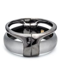 Alexis Bittar | Gray Ruthenium Stacked Hinged Bracelet | Lyst