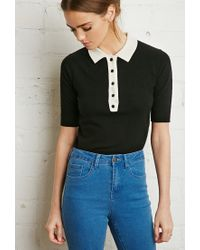 Forever 21 | Black Buttoned Collar Sweater You've Been Added To The Waitlist | Lyst