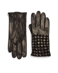 Portolano | Black Basket-weave Leather Gloves | Lyst