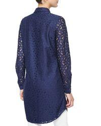 Equipment | Blue Brett Long-sleeve Lace Tunic | Lyst