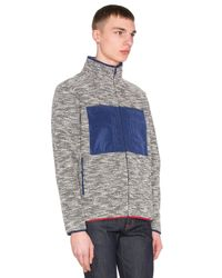 Altru   Blue French Terry Funnel Neck Jacket for Men   Lyst