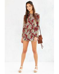 Lucca Couture - Purple Silky Open-back Romper - Lyst