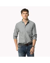 Tommy Hilfiger | Gray Chambray Regular Fit Shirt for Men | Lyst