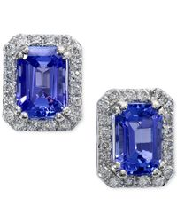 Effy Collection | Blue Tanzanite (1-3/4 Ct. T.w.) And Diamond (1/4 Ct. T.w.) Earrings In 14k White Gold | Lyst