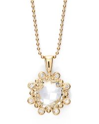 Anzie | 'dew Drop' Topaz & Diamond Pendant Necklace - Clear Topaz/ Yellow Gold | Lyst