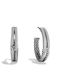 David Yurman | Metallic Labyrinth Hoop Earrings With Diamonds | Lyst