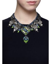 Assad Mounser   Multicolor Neon Spike Crystal Curb Chain Necklace   Lyst