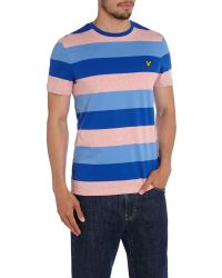 Lyle & Scott | Pink Rugby Stripe Crew Neck Regular Fit T-shirt for Men | Lyst