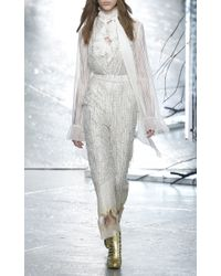 Rodarte - White Striped Lace Tie Neck Blouse With Ruffle Details - Lyst