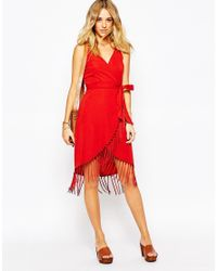 Glamorous - Wrap Cami Dress With Fringe Skirt - Black - Lyst