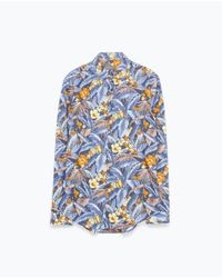 Zara | Blue Floral Print Shirt for Men | Lyst