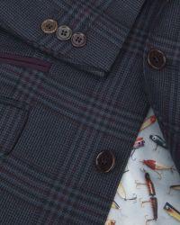 Ted Baker - Blue Checked Wool Blazer for Men - Lyst