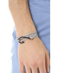 Miansai | Gray Hook Black Leather Wrap Bracelet for Men | Lyst