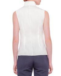 Akris - White Sleeveless Mock-neck Stretch-poplin Top - Lyst