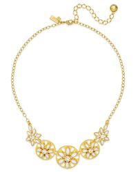 kate spade new york | Metallic Gold-tone White Epoxy Bead Floral Necklace | Lyst