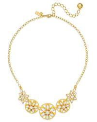 Kate Spade | Metallic Gold-tone White Epoxy Bead Floral Necklace | Lyst