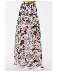 Missguided - Pink Correia Floral Print Split Maxi Skirt - Lyst