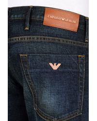 Emporio Armani - Blue Slim Fit Dark Wash Jeans for Men - Lyst