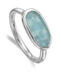 Monica Vinader - Metallic Vega Aquamarine Ring - Lyst