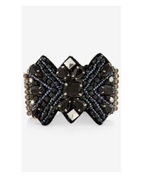 Express | Black Ornate Stone Fabric Bracelet | Lyst