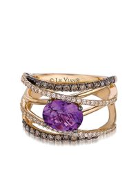 Le Vian | Purple 14kt Yellow Gold Amethyst And Diamond Hard Candy Ring | Lyst