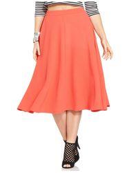 Jessica Simpson - Orange Plus Size Mirabel A-Line Midi Skirt - Lyst
