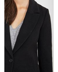 Forever 21 - Black Peak Lapel Overcoat - Lyst