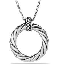 David Yurman | Metallic Cable Classics Large Pendant With Diamonds On Chain | Lyst