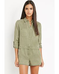Forever 21 | Green Contemporary Life In Progress Hidden-placket Romper | Lyst