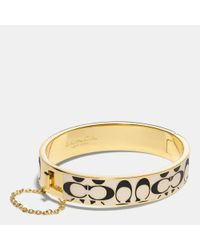 COACH | Metallic Signature C Metal Enamel Chain Hinged Bangle | Lyst