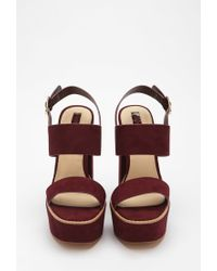 Forever 21 | Purple Faux Suede Strappy Sandals | Lyst